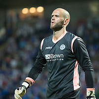 St Johnstone v FC Luzern...24.07.14  Europa League 2nd Round Qualifier<br /> A calm Alan Mannus walks away after saving Marco Schneuwly's penalty<br /> Picture by Graeme Hart.<br /> Copyright Perthshire Picture Agency<br /> Tel: 01738 623350  Mobile: 07990 594431