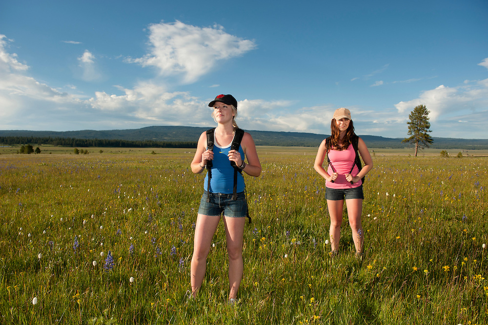 Two girls hiking,Ochoco Mountains,Central Oregon,USA