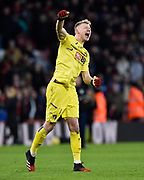 Aaron Ramsdale (12) of AFC Bournemouth celebrates the 2-1 win at full time during the Premier League match between Bournemouth and Aston Villa at the Vitality Stadium, Bournemouth, England on 1 February 2020.