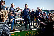 Matteo Salvini discusses  with a resident of the Roma camp.<br /> The secretary of the Northern League, Matteo Salvini visited the roma camp  of Via Salviati to Tor Sapienza neighborhood on the outskirts of Rome.  The Roma camp in via Salviati and inhabited by about 450 people from the former Yugoslavia. Rome, Italy. 24th Febraury 2016.
