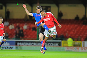 Joe Rafferty challenged by Joe Rafferty during the EFL Sky Bet League 1 match between Swindon Town and Rochdale at the County Ground, Swindon, England on 18 October 2016. Photo by Daniel Youngs.