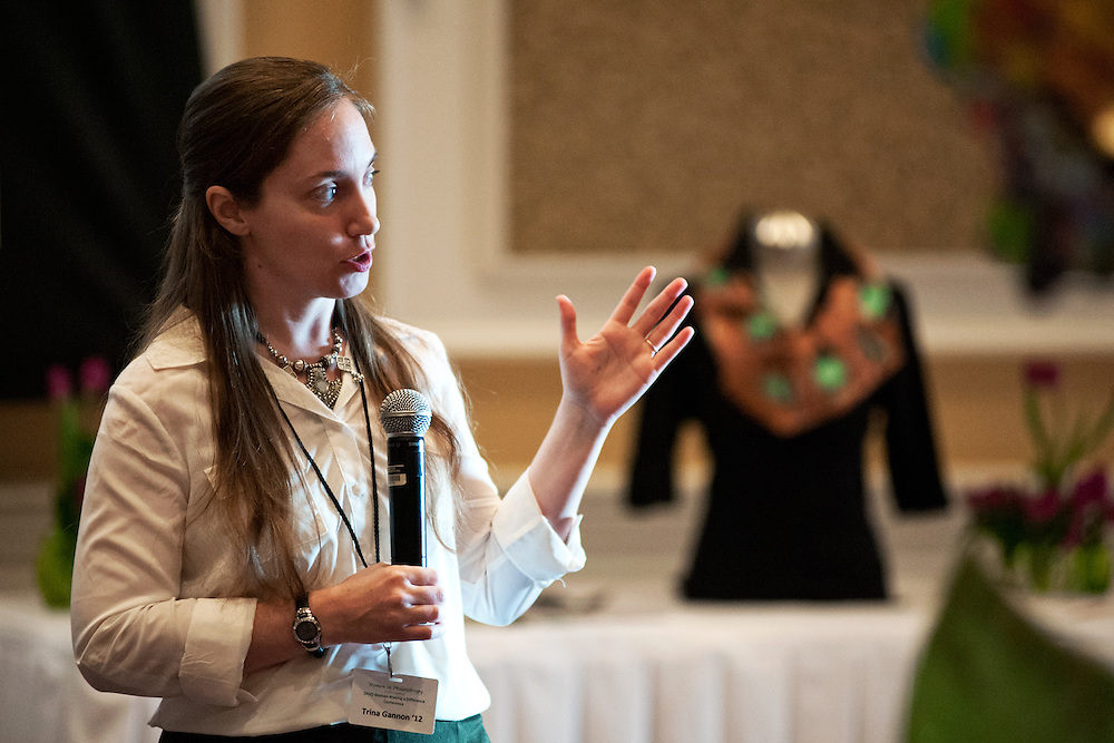 Trina Gannon gives a talk about the Ohio University Mary C. Doxsee Historic Clothing and Textile Collection during the Women in Philanthropy conference on Thursday, March 14th in Baker Ballroom. Photo by: Ross Brinkerhoff.