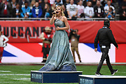 The National anthem is sung during the International Series match between Tampa Bay Buccaneers and Carolina Panthers at Tottenham Hotspur Stadium, London, United Kingdom on 13 October 2019.