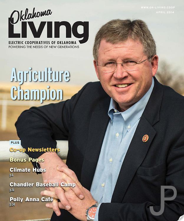 Oklahoma Living Magazine cover for April 2014 featuring Congressman Frank Lucas.