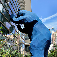 Big Blue Bear Sculpture Peering into Convention Center in Denver, Colorado<br />