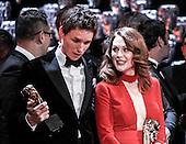 Backstage at the 2015 Bafta Film Awards Royal Opera House London