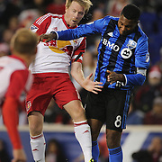 HARRISON, NEW JERSEY- November 06:  Dax McCarty #11 of New York Red Bulls and Patrice Bernier #8 of Montreal Impact challenge for the ball during the New York Red Bulls Vs Montreal Impact MLS playoff match at Red Bull Arena, Harrison, New Jersey on November 06, 2016 in Harrison, New Jersey. (Photo by Tim Clayton/Corbis via Getty Images)
