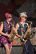 Saxophones in March Fourth Marching Band performing at Bumbershoot 2011, Seattle, Washington, USA