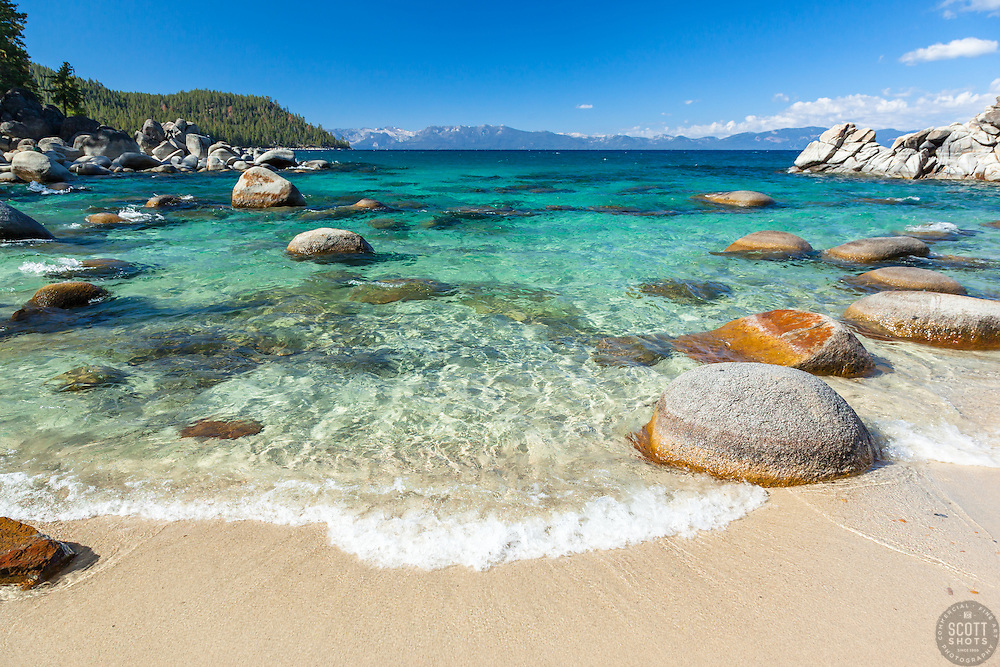 """""""Boulders at Secret Cove 1"""" - These boulders shoreline were photographed at Secret Cove on the East Shore of Lake Tahoe."""