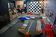 Racing cars on a model race track in Lil's Hobby Center inside Glorietta Mall, Makati, Metro Manila, Philippines. Lil's Hobby Center have been providing consumers with scale models for over 40 years in the Philippines.  (photo by Andrew Aitchison / In pictures via Getty Images)