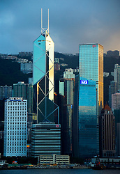 Hong Kong skyscrapers at dusk in Central District of Hong Kong