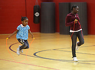 Middletown, New York - Girls jump rope at Family Night at the Middletown YMCA on April 2, 2011.