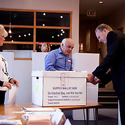 Mayoral candidate Kevin Faulconer votes at his polling station in Point Loma.