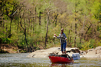 Canoeing and paddling on Virginia's James River for a white water, fly fishing, turkey hunting and camping trip using the wingman outfitter canoe system.