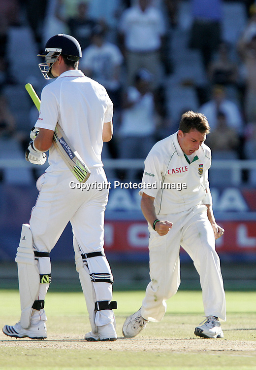 Dale Steyn celebrates as Kevin Pietersen takes the long walk home during the 4th day of the third test match between South Africa and England held at Newlands Cricket Ground in Cape Town on the 6th January 2010.Photo by: Ron Gaunt/ SPORTZPICS