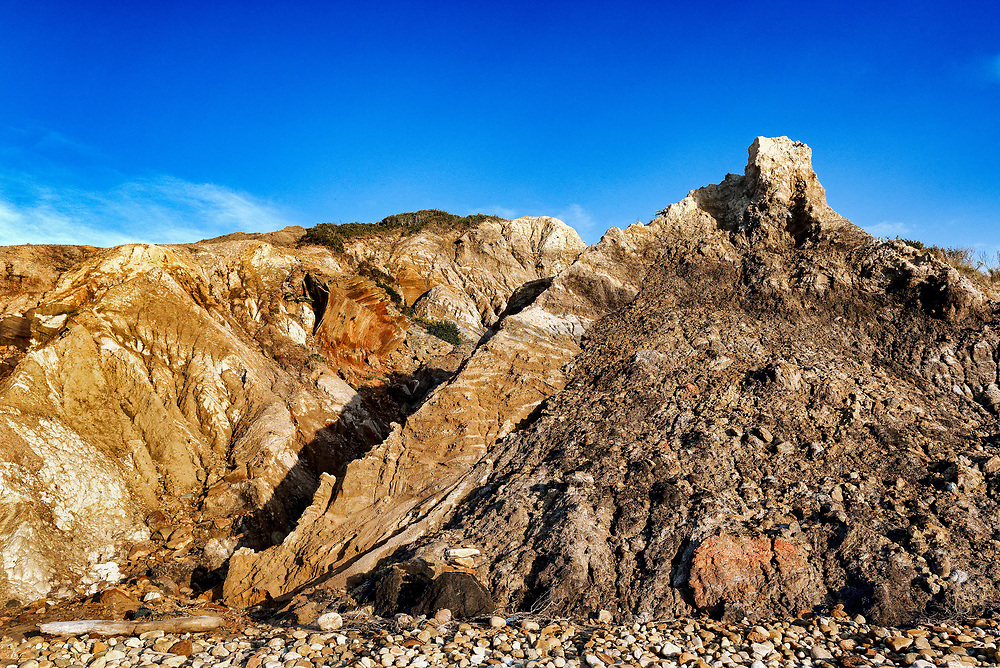 Clay cliffs and rock formations, Gay Head, Aquinnah, Martha's Vineyard, Massachusetts, USA.