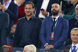 May 2, 2018 - Rome, Lazio, Italy - AS Roma v FC Liverpool - Champions League semi-final second leg.Former Roma captain Francesco Totti with the Sport Director Ramon Rodriguez Verdejo known as Monchi at Olimpico Stadium in Rome, Italy on May 02, 2018. (Credit Image: © Matteo Ciambelli/NurPhoto via ZUMA Press)