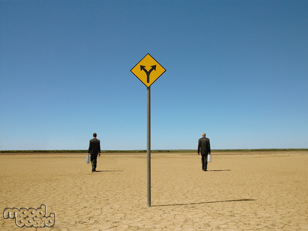 Two businessmen with briefcases in desert back view road sign in foreground