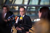 DEU, Deutschland, Germany, Berlin, 14.01.2020: Bundesaussenminister Heiko Maas (SPD) bei einem Pressestatement im Bundestag.
