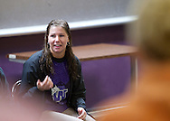 Trinity Renchin, student ambassador, answers questions for prospective students during an open house at Waldorf College in Forest City, Iowa on Saturday, May 14, 2011.