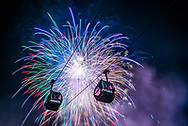 Fireworks over Aspen Mountain during the 2015 Aspen Winternational Audi FIS Ski World Cup event in Aspen, Colorado.