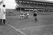GAA All Ireland Senior Football Final Down v. Kerry 22nd September 1968 Croke Park..P. Doherty Down forward is really in trouble near the Kerry goal as he is tackled by four of the Kerry backs *** Local Caption *** It is important to note that under the COPYRIGHT AND RELATED RIGHTS ACT 2000 the copyright of these photographs are the property of the photographer and they cannot be copied, scanned, reproduced or electronically stored in any form whatsoever without the written permission of the photographer