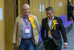 The counting of votes in the European Parliamentary Election for the City of Edinburgh counting area takes place at EICC, Morrison Street, Edinburgh.<br /> <br /> Pictured: MSP Alex Cole-Hamilton arrives early at the count in Edinburgh