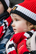 Manchester United FC young football fans, young football supporters during the FA Women's Super League match between Manchester United Women and Bristol City Women at Leigh Sports Village, Leigh, United Kingdom on 5 January 2020.