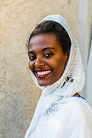 An Ethiopian woman wears the traditional habesha kemis; Bahir Dar; Ethiopia