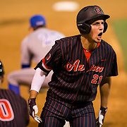 16 February 2018: San Diego State baseball opened up the season against UCSB at Tony Gwynn Stadium. San Diego State infielder Jordan Verdon (21) leads off the fifth inning with a triple as he yells into the bench to pump up the team. The Aztecs beat the Gauchos 9-1. <br /> More game action at sdsuaztecphotos.com