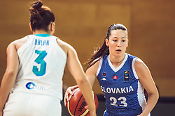 Angelika Slamova of Slovakia vs Teja Oblak of Slovenia during Women's Basketball - Slovenia vs Slovaska on the 14th of June 2019, Dvorana Poden, Skofja Loka, Slovenia. Photo by Matic Ritonja / Sportida