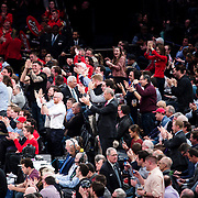 January 9, 2018, New York, NY : Basketball fans cheer as they attend Tuesday night's matchup between the Hoyas and Red Storm at Madison Square Garden. In something of a rematch of their 1985 contest, Basketball greats Patrick Ewing and Chris Mullin returned to Madison Square Garden on Tuesday night to face off as coaches with their respective Georgetown and St. John's teams.  CREDIT: Karsten Moran for The New York Times
