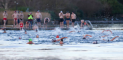 © Licensed to London News Pictures. 25/12/2013. London, UK. Members of the Serpentine Swimming Club take the plunge during the Serpentine Swimming Club's annual Christmas morning 'Peter Pan Cup' race in Hyde Park, London, today (25/12/2013). The race, which takes place every Christmas Day on the Serpentine River, takes its name from from the novel by J.M.Barrie after the author presented the first Peter Pan Cup in 1904. Photo credit: Matt Cetti-Roberts/LNP