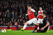 Arsenal Midfielder Lucas Torreria (11) and Rennes Damien Da Silva (3) during the Europa League round of 16, leg 2 of 2 match between Arsenal and Rennes at the Emirates Stadium, London, England on 14 March 2019.