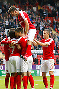 Charlton Athletic players celebrate a goal during the EFL Sky Bet League 1 match between Charlton Athletic and Coventry City at The Valley, London, England on 15 October 2016. Photo by Andy Walter.