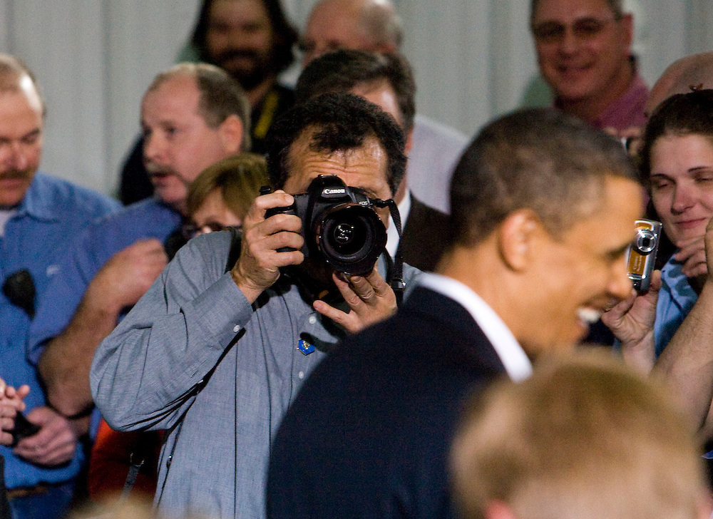 Apr 28, 2010 - Macon, Missouri, USA - White House photographer PETE SOUZA photographs President BARACK OBAMA speaks to a small crowd of invited guests, workers and the media after touring the Poet ethanol biorefinery in Macon, Mo. Wednesday afternoon during his main street tour of the midwest.© 2010 Patrick T. Fallon