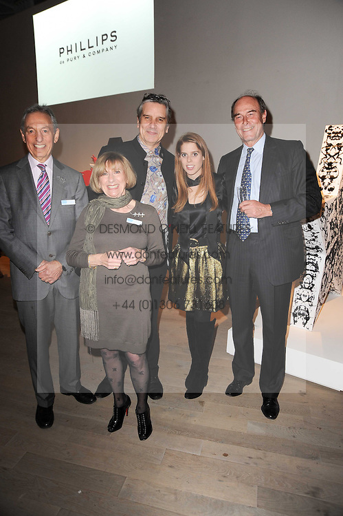Left to right,  DR ADRIAN WHITESON Life president of the Teenage Cancer Trust MYRNA WHITESON Life president of the Teenage Cancer Trust, SIMON DAVIES CEO Teenage Cancer Trust, PRINCESS BEATRICE OF YORK and DAVID HOARE Chairman of the Teenage Cancer Trust at the Polo Jeans Co. hosted Art Stars Auction in support of the Teenage Cancer Trust held at Phillips de Pury & Co, Howick Place, London on 6th December 2010.