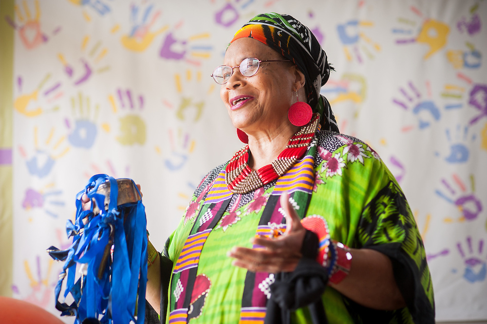 African American woman wearing colorful traditional clothes in Baltimore, Maryland