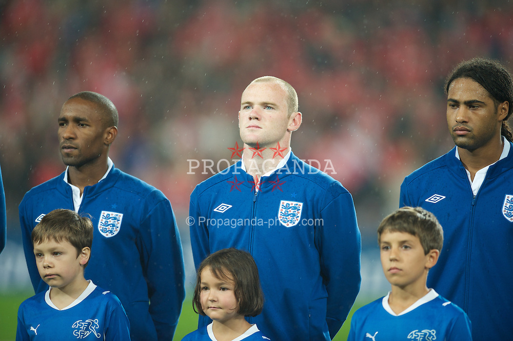BASEL, SWITZERLAND - Tuesday, September 7, 2010: England's Wayne Rooney before the UEFA Euro 2012 Qualifying Group G match against Switzerland at St. Jakob-Park. (Pic by David Rawcliffe/Propaganda)