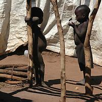 Uganda February 2007<br /> Young boys talking, Mucuini camp.