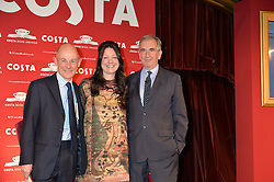Left to right, CHRIS ROGERS MD of Costa, winner of the Costa Book of The Year 2014 HELEN MACDONALD and ROBERT HARRIS at the 2014 Costa Book of The Year Awards held at Quaglino's, Bury Street, London on 27th January 2015.  The winner of the Book of The Year was Helen Macdonald for her book H is for Hawk.