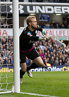 Football - 2016 / 2017 Premier League - Tottenham Hotspur vs. Leicester City<br /> <br /> Kasper Schmeichel of Leicester Citymoves to his right as he prepares to stop an attemot at goal at White Hart Lane.<br /> <br /> COLORSPORT/DANIEL BEARHAM