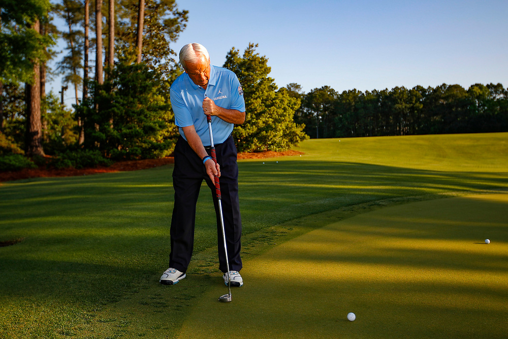 North Carolina head basketball coach Roy Williams practices prior to the Chick-fil-A Peach Bowl Challenge at the Ritz Carlton Reynolds, Lake Oconee, on Monday, April 30, 2019, in Greensboro, GA. (Paul Abell via Abell Images for Chick-fil-A Peach Bowl Challenge)