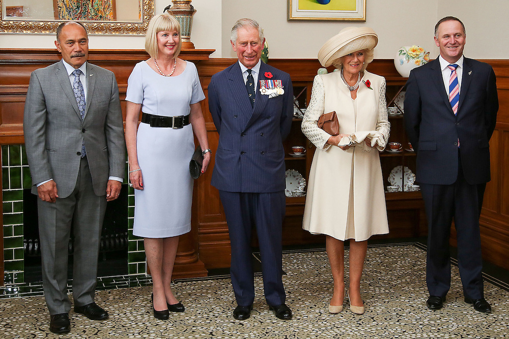 Governor-General Sir Jerry Mateparae, left, Lady Janine Mateparae, Prince Charles, Prince of Wales, Camilla, Duchess of Cornwall and Prime Minister John Key look on at Government House,  Wellington, New Zealand, Wednesday, November 04, 2015. Credit:SNPA / Getty, Hagen Hopkins **POOL**