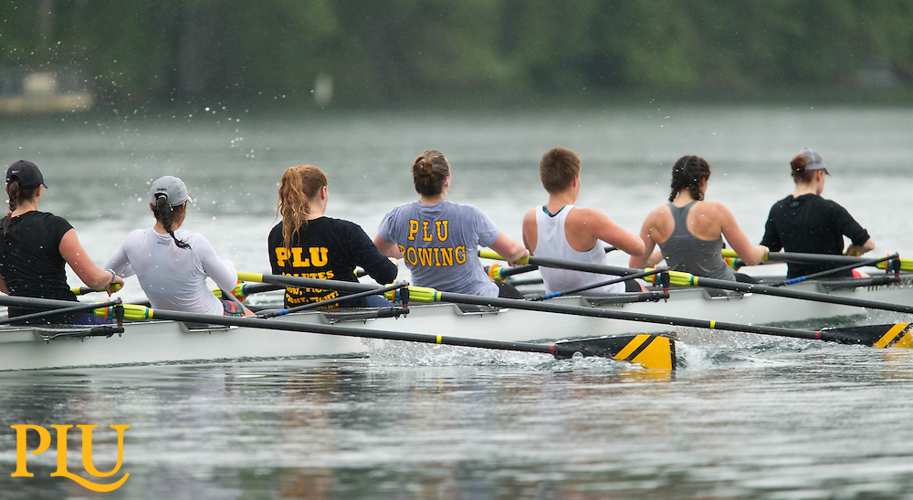PLU Women's rowing training on American Lake in Lakewood, Washington, Saturday, May 21, 2016, for the NCAA Division III Championships to be held in Sacramento California on May 27 and 28. (Photo: John Froschauer/PLU)