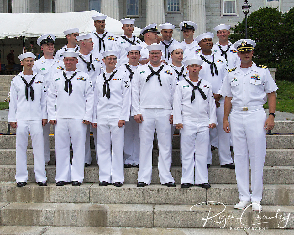 Crew of the USS Montpelier on the State House steps July 3rd 2013. USS Montpelier (SSN-765), a Los Angeles-class submarine, is the third ship of the United States Navy to be named for Montpelier, Vermont.