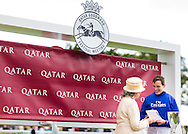 Jockey James Doyle and the Duchess of Richmond at the Qatar Goodwood Festival, better known as Glorious Goodwood. Day one.<br /> Picture date: Tuesday July 28, 2015.<br /> Photograph by Christopher Ison &copy;<br /> 07544044177<br /> chris@christopherison.com<br /> www.christopherison.com