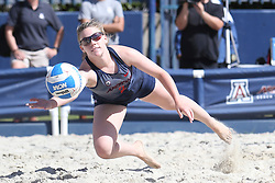 April 7, 2018 - Tucson, AZ, U.S. - TUCSON, AZ - APRIL 07: Arizona Wildcats defender Makenna Martin (2) dives to hit the ball during a college beach volleyball match between the Colorado Mesa Mavericks and the Arizona Wildcats on April 07, 2018, at Bear Down Beach in Tucson, AZ. Arizona defeated Colorado Mesa 4-1. (Photo by Jacob Snow/Icon Sportswire (Credit Image: © Jacob Snow/Icon SMI via ZUMA Press)