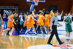Players of team KK Helios during basketball match between KK Zlatorog and KK Helios Suns in 4th match of Nova KBM Slovenian Champions League Final 2015/16 on June 5, 2016 in Dvorana Komunalnega centra, Domzale, Slovenia Photo by Grega Valancic / Sportida