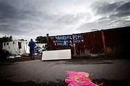 UNITED KINGDOM, Basildon:A sign at the Dale Farm travellers site at Cray's Hill, near Basildon, Essex , on September 19, 2011. © Christian Minelli.